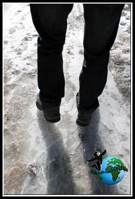 El camino está helado. Empezando la ruta del Río Dulce.