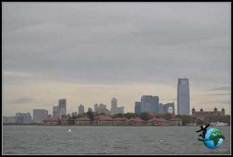 Zona financiera de New York desde el Ferry a Liberty Island