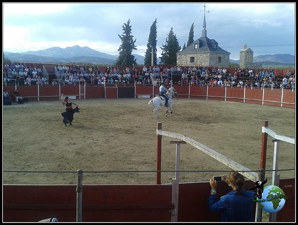 Baile con caballos en la plaza de toros de Colmenar del Arroyo.
