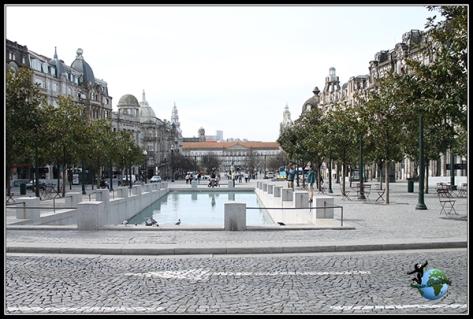 Plaça Trindade en Oporto.