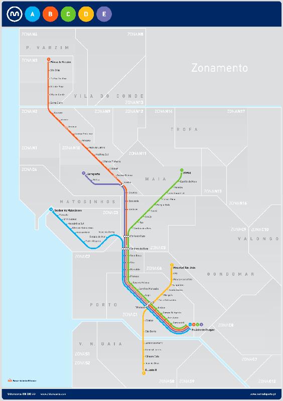 Mapa del metro de Oporto