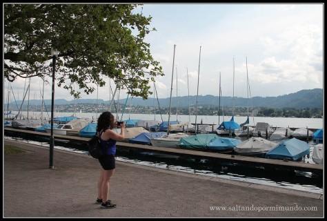 Fotografiando parte del Lago de Zurich.