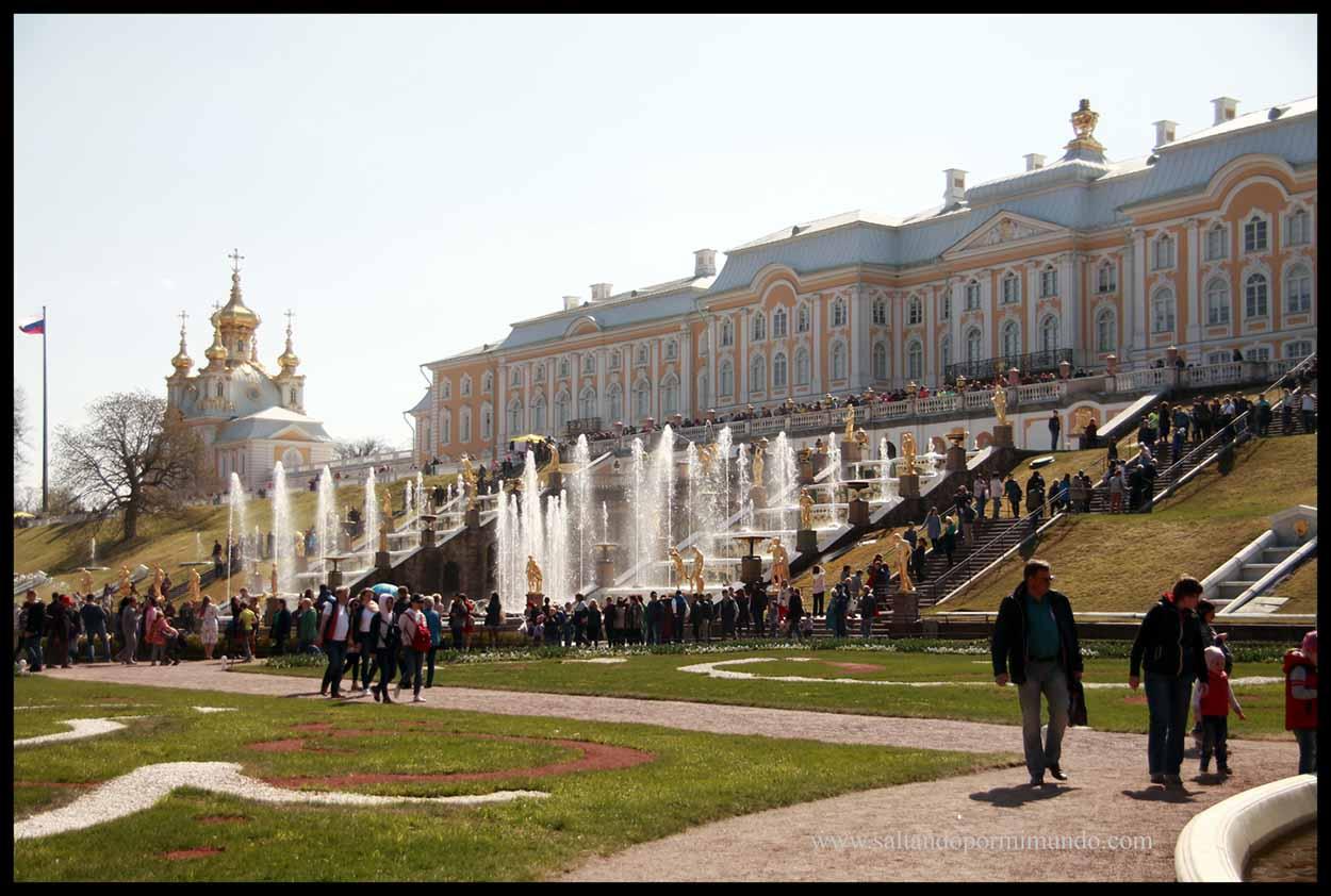 """Palacio de Peterhof, el """"modesto"""" palacio de verano de Catalina."""